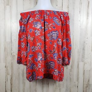 Cynthia Rowley Womens Top Red Floral Off Shoulder
